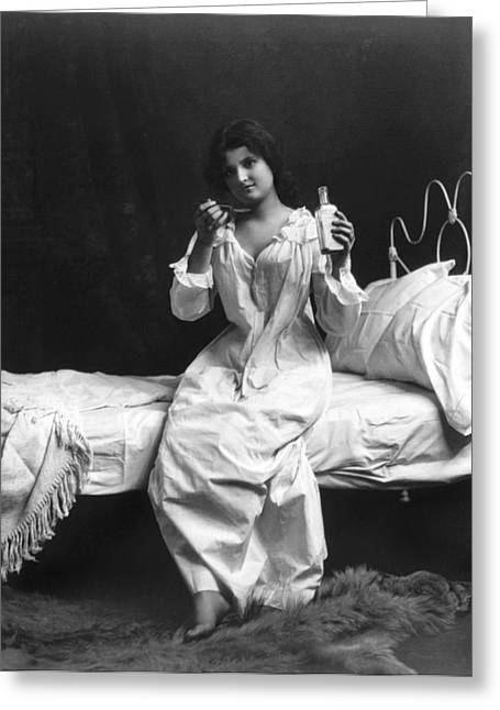 A Woman Taking Medicine Greeting Card by Underwood Archives