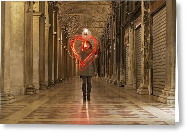 One Point Perspective Greeting Cards - A Woman Walking In A Corridor Making Greeting Card by Mats Silvan