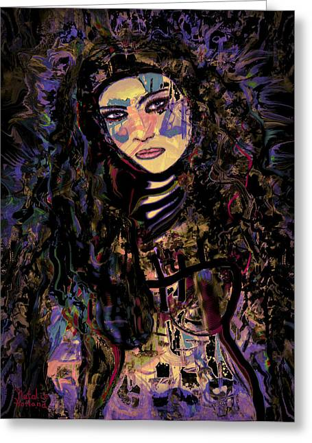 Warrior Goddess Mixed Media Greeting Cards - A Woman Warrior Greeting Card by Natalie Holland