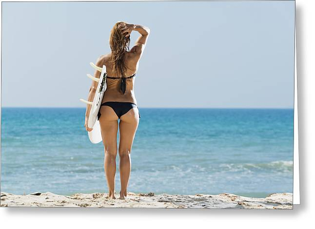 Black Ancestry Greeting Cards - A Woman Wearing A Black Bikini Stands Greeting Card by Ben Welsh