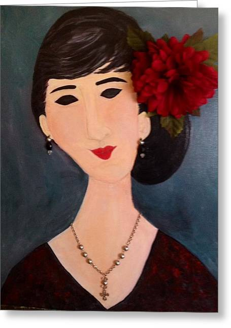 Modigliani Drawings Greeting Cards - A Woman with Flower Greeting Card by Sharon Lee Samyn