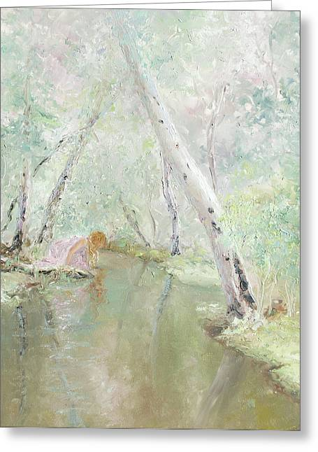 Impressionist Creek Oil Paintings Greeting Cards - A Wood Nymph 3 Greeting Card by Jan Matson