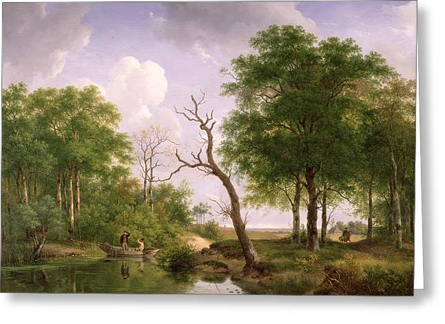 Discussing Greeting Cards - A wooded river landscape with sportsmen in a rowing boat Greeting Card by Andreas Schelfhout