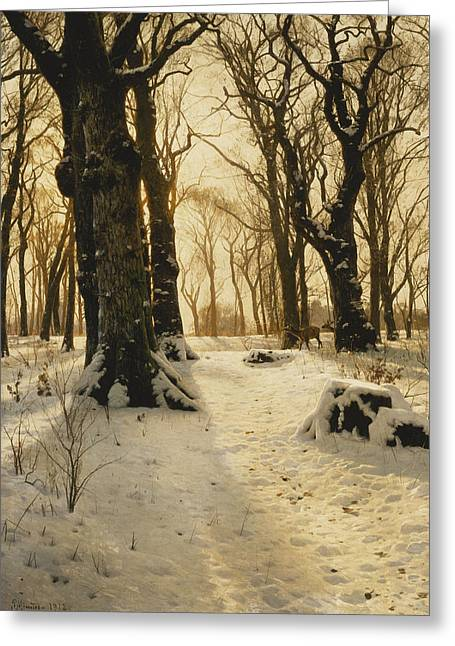 Snowy Day Greeting Cards - A Wooded Winter Landscape with Deer Greeting Card by Peder Monsted