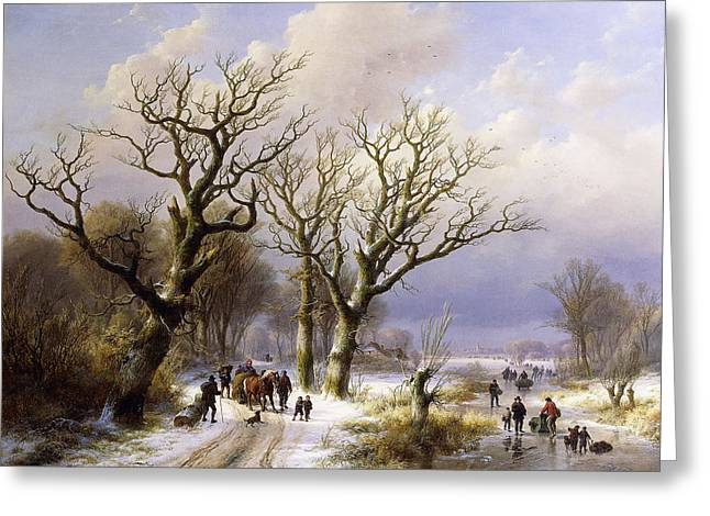 Landscape With A Road Greeting Cards - A Wooded Winter Landscape with Figures Greeting Card by Verboeckhoven and Klombeck