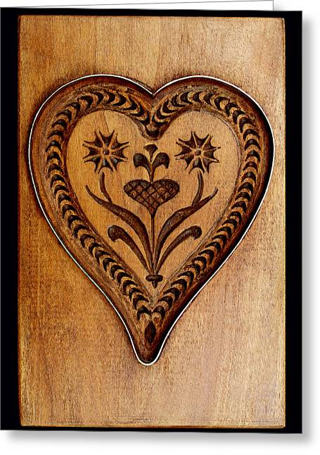 Hand Carved Greeting Cards - A Wooden Heart Greeting Card by Hanne Lore Koehler