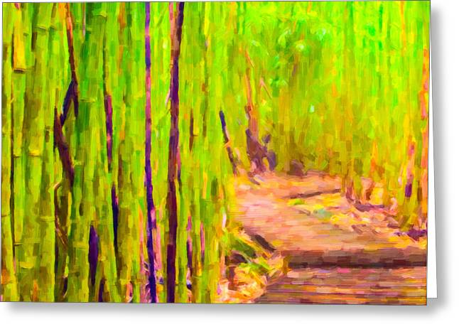 Tropical Greeting Cards - A wooden path through a dense bamboo forest on The Road to Hana Greeting Card by Lanjee Chee