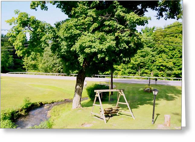 Schoolyard Game Greeting Cards - A wooden swing under the tree 1 Greeting Card by Lanjee Chee