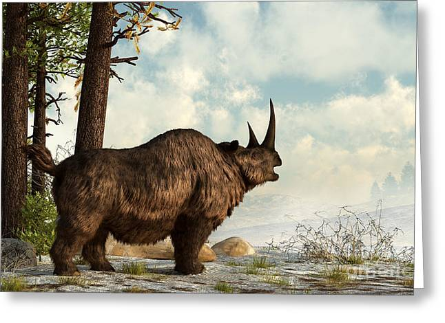 One Horned Rhino Greeting Cards - A Woolly Rhinoceros Trudges Greeting Card by Daniel Eskridge