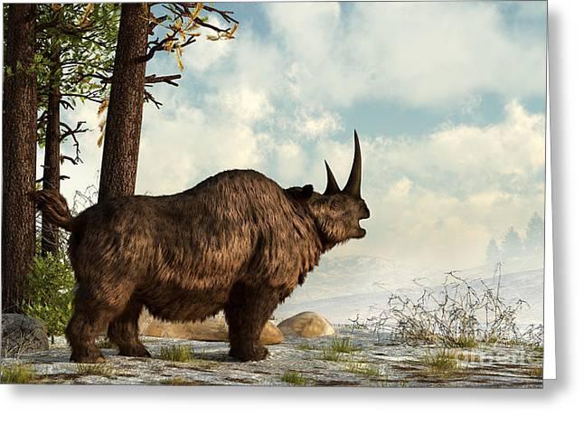 A Woolly Rhinoceros Trudges Greeting Card by Daniel Eskridge