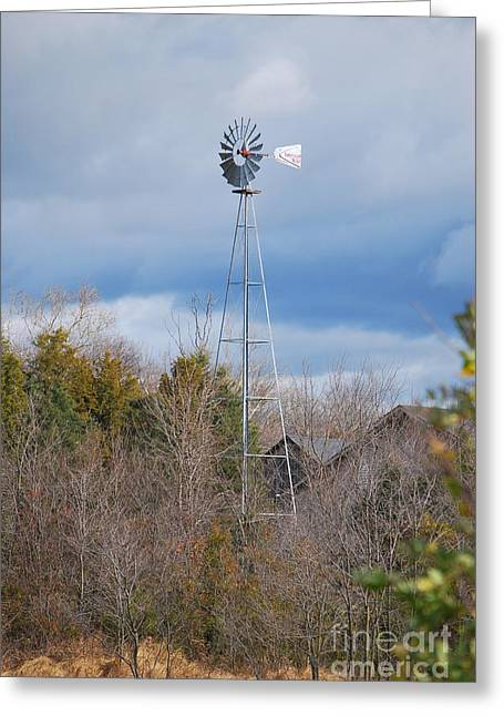 Old Mill Scenes Digital Art Greeting Cards - An Old Fashioned Working Wind Mill Greeting Card by Bob Sample