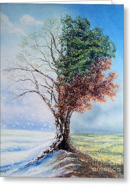 Snow Tree Prints Greeting Cards - A Year in the Tree of Life Greeting Card by Stanza Widen