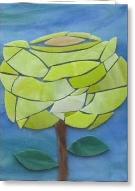Roses Glass Greeting Cards - A Yellow Rose For The Journey Greeting Card by Charles McDonell