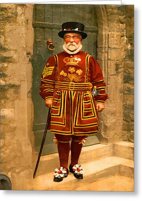 19th Century America Digital Art Greeting Cards - A yeoman of the guard Beefeater  London - England Greeting Card by Don Kuing