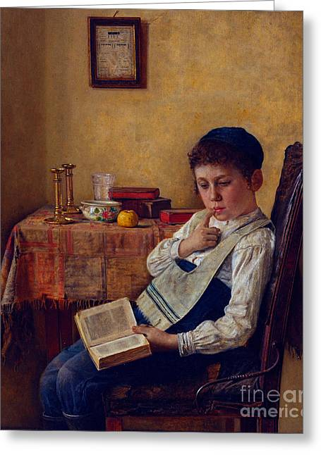 Orthodox Paintings Greeting Cards - A Yeshiva Boy Greeting Card by Celestial Images