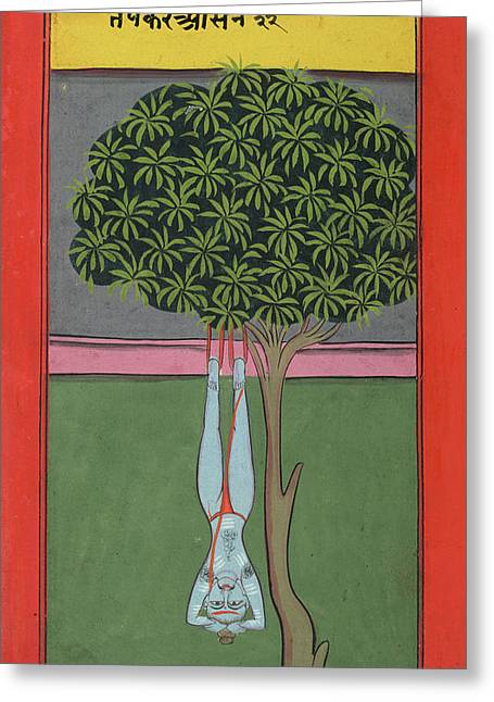 A Yogi Hanging By His Feet Greeting Card by British Library