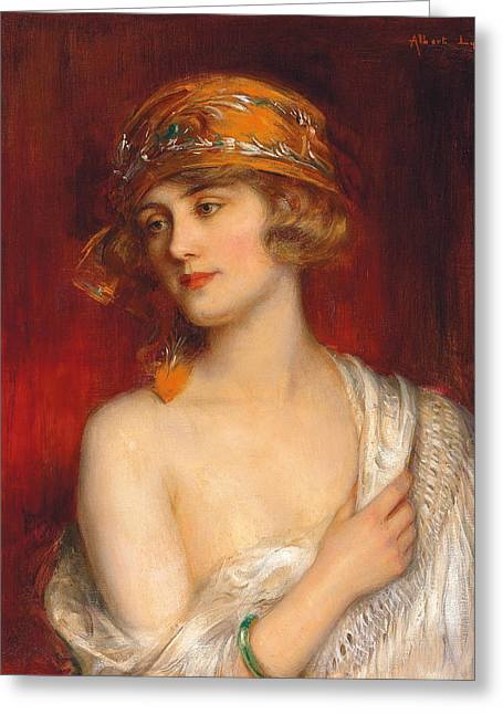 Slip Greeting Cards - A Young Beauty Greeting Card by Albert Lynch