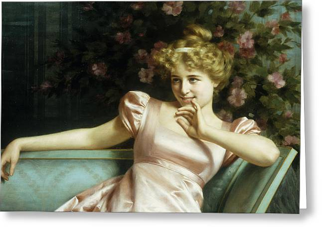 Blonde On Blonde Greeting Cards - A Young Beauty Greeting Card by Vittorio Reggianini