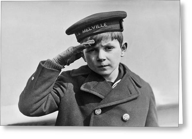 A Young Boy Saluting Greeting Card by Underwood Archives