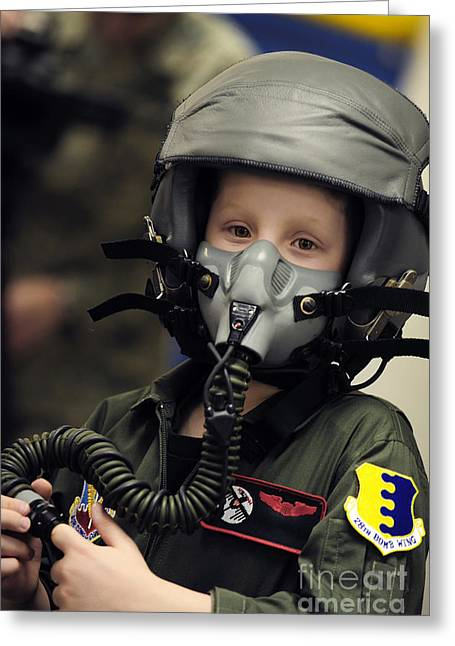 Satisfaction Greeting Cards - A Young Boy Wears A Helmet With Oxygen Greeting Card by Stocktrek Images