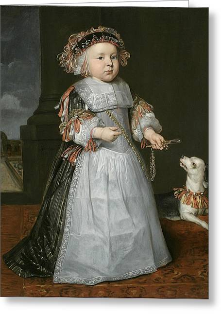 Apron Greeting Cards - A Young Boy With A Dog, 1667 Greeting Card by Hendrick Berckman