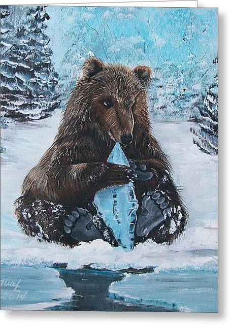 Snow Tree Prints Greeting Cards - A Young Brown Bear Greeting Card by Sharon Duguay