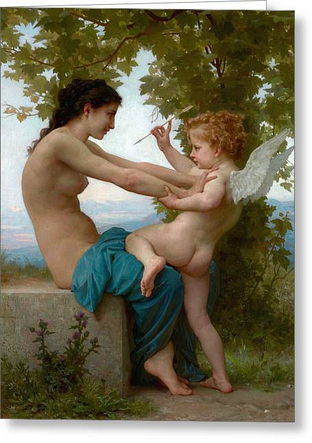 A Young Girl Defending Herself Against Eros Greeting Card by Adolphe-William Bouguereau