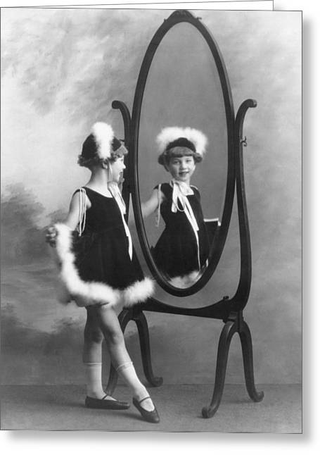 Fancy-full Greeting Cards - A Young Girl In A Mirror Greeting Card by Underwood Archives