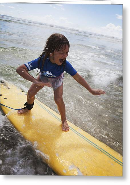 A Young Girl On A Yellow Surfboardgold Greeting Card by Marcos Welsh