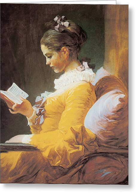 Honore Greeting Cards - A Young Girl Reading Greeting Card by Jean-Honore Fragonard