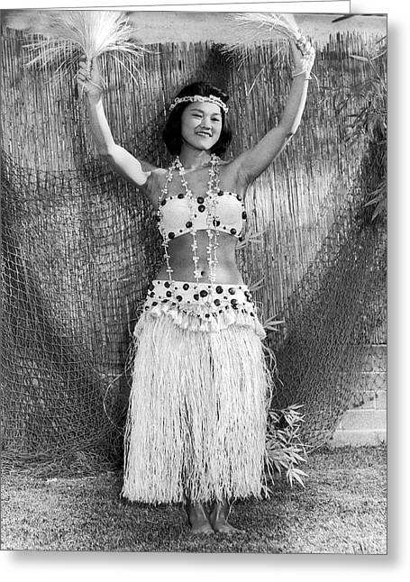 A Young Hawaiian Hula Woman Greeting Card by Underwood Archives