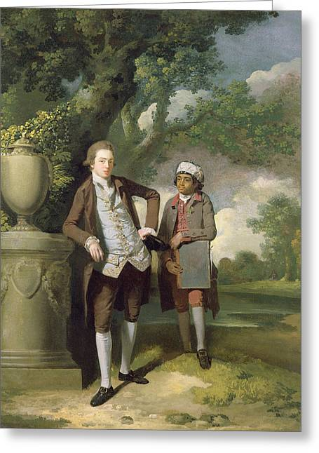 Full-length Portrait Greeting Cards - A Young Man With His Indian Servant Holding A Portfolio Oil On Canvas Greeting Card by John Hamilton Mortimer