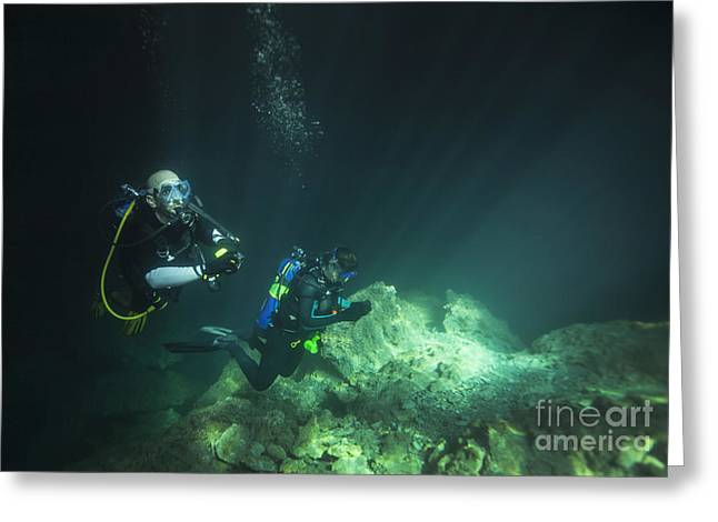 Recently Sold -  - Devils Den Greeting Cards - A Young Married Couple Scuba Diving Greeting Card by Michael Wood
