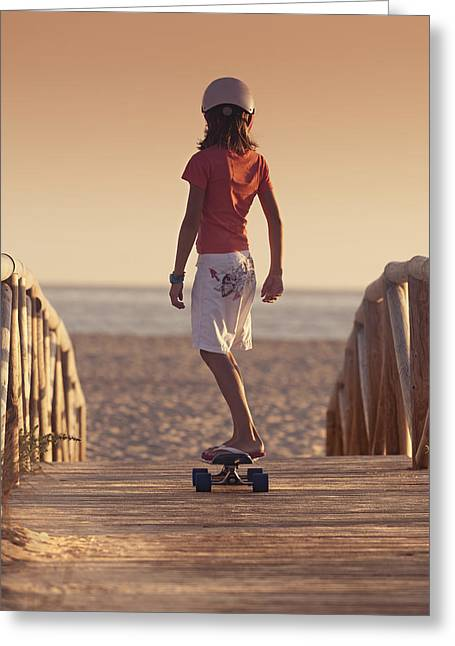 Ground Level Greeting Cards - A Young Person Skateboarding With Bare Greeting Card by Ben Welsh