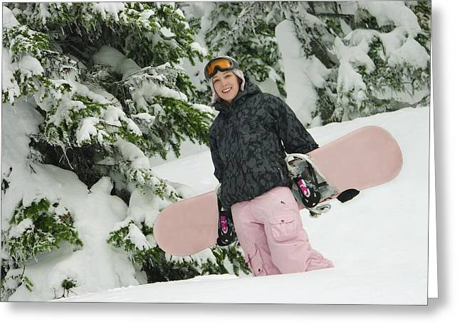 Self Confidence Greeting Cards - A Young Woman Carrying A Snowboard Greeting Card by Leah Hammond