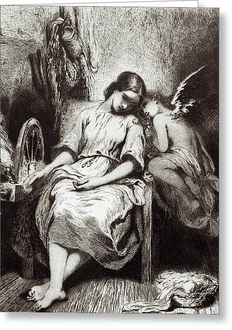 Virgin Mary Drawings Greeting Cards - A Young Woman Dozing with an Angel Greeting Card by Charles Nodier