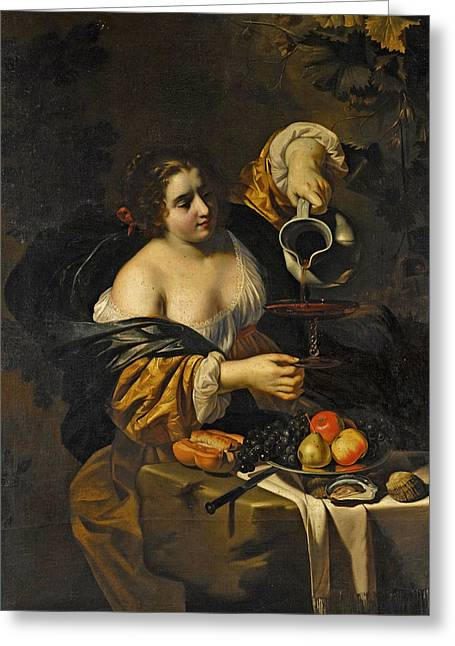 Wine Pouring Greeting Cards - A young woman pouring red wine from a pitcher into a glass Greeting Card by Nicolas Regnier