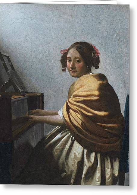 Virginal Greeting Cards - A young woman seated at the virginal Greeting Card by Johannes Vermeer