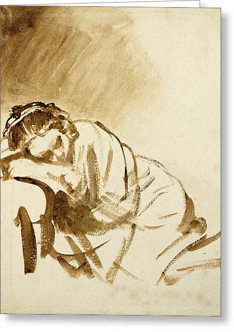 Vol Greeting Cards - A Young Woman Sleeping Hendrijke Stoffels C.1654 Brush & Brown Wash On Paper Greeting Card by Rembrandt Harmensz. van Rijn