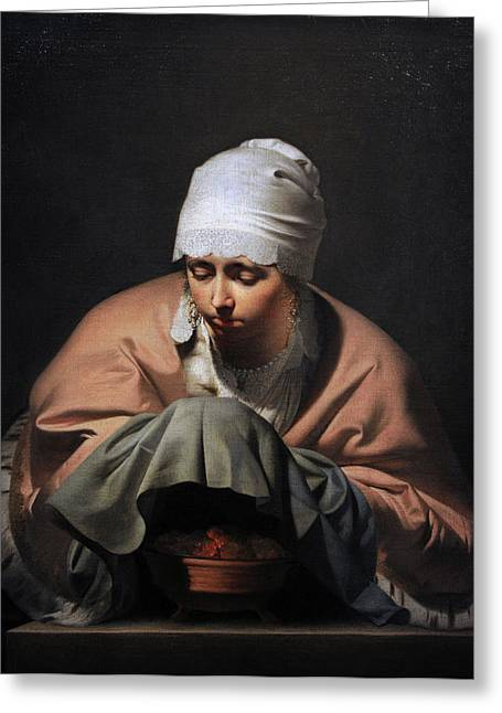 17th Greeting Cards - A Young Woman Warming Her Hands Over A Brazier Allegory Of Winter, C. 1644-1648, By Cesar Boetius Greeting Card by Bridgeman Images