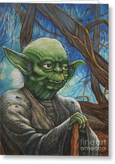 License Portrait Greeting Cards - A Younger Yoda Greeting Card by Joseph Juvenal