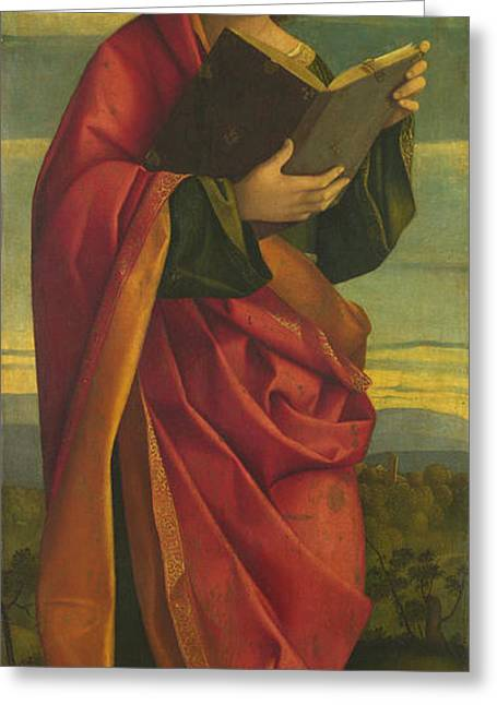 Youthful Paintings Greeting Cards - A Youthful Saint Reading Greeting Card by Attributed to Gerolamo da Santacroce
