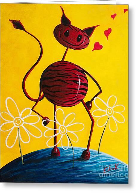 Outsider Artist Greeting Cards - A Zebra Kind Of Love by Shawna Erback Greeting Card by Shawna Erback