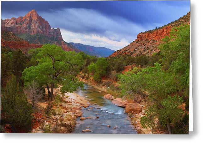Recently Sold -  - Darren Greeting Cards - A Zion Morning Greeting Card by Darren  White