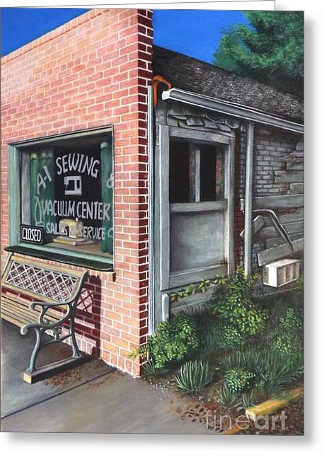 Sidewalk Drawings Greeting Cards - A1 Sewing Greeting Card by David Neace