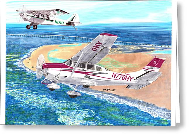 Cessna Greeting Cards -  Cessna 206 and A1A Husky Greeting Card by Jack Pumphrey