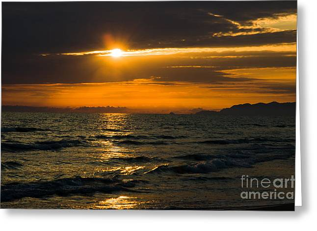 Sunset On The Mediterranian Coast Greeting Card by Peter Noyce