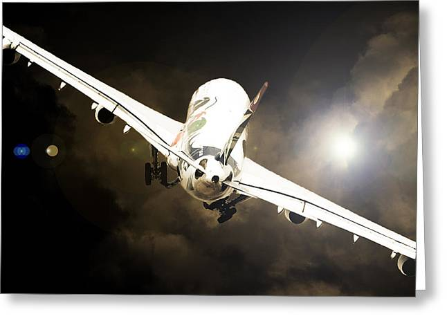 Airbus Greeting Cards - A340 Takeoff Greeting Card by Paul Job