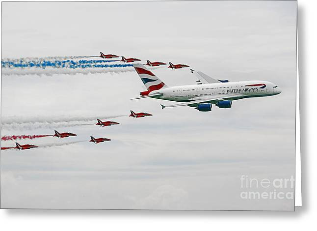 A380 Greeting Cards - A380 and Red Arrows  Greeting Card by J Biggadike