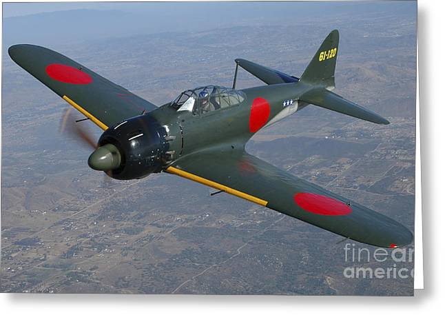 Antique Artwork Greeting Cards - A6m Japaneese Zero Flying Over Chino Greeting Card by Phil Wallick